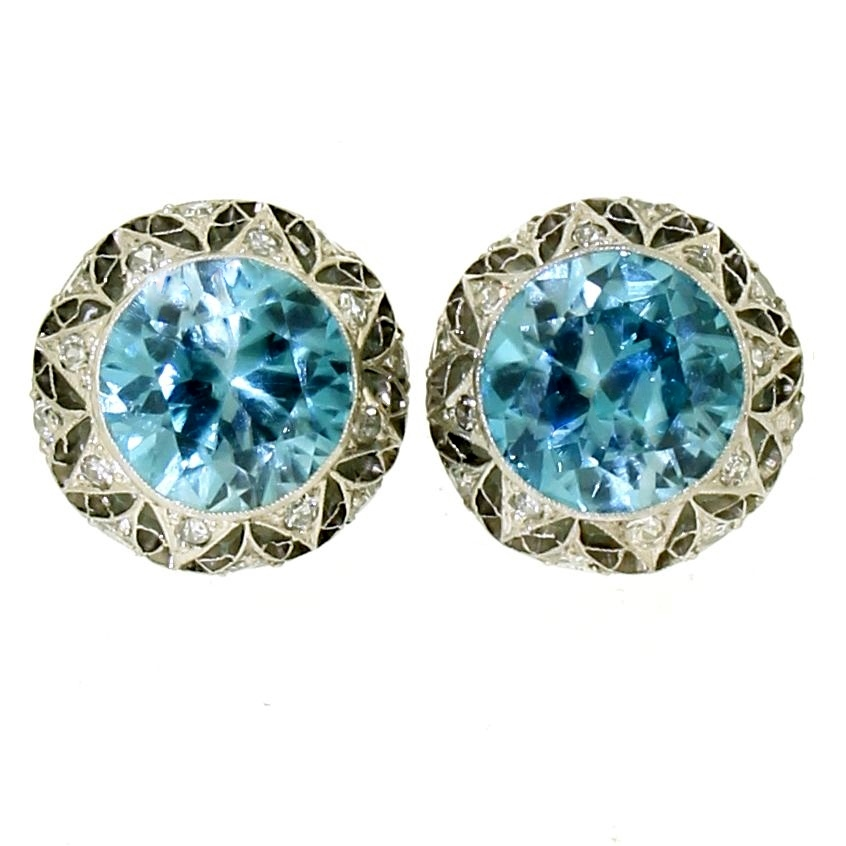 Antique blue zircon & diamond ear studs