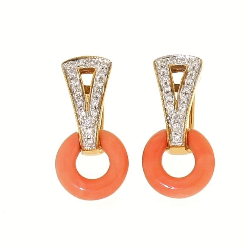 18K gold coral and diamond earrings