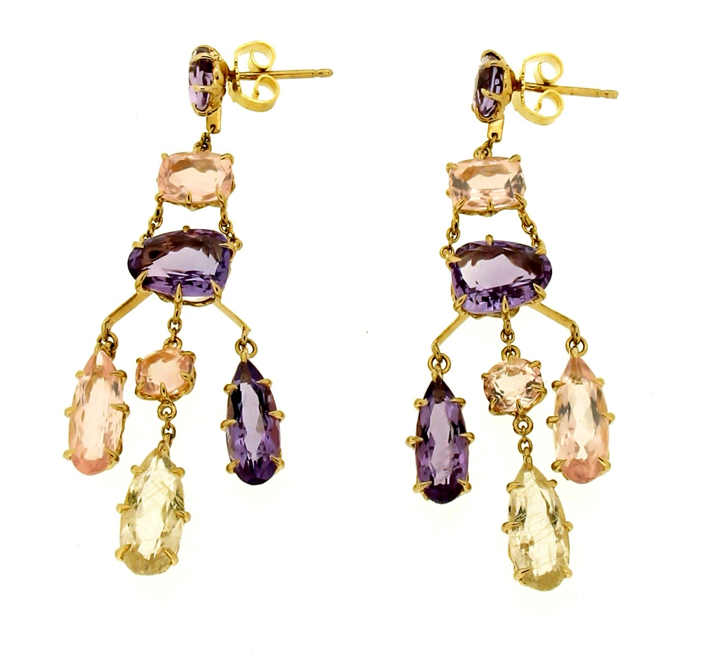 Hand made earrings with quartz